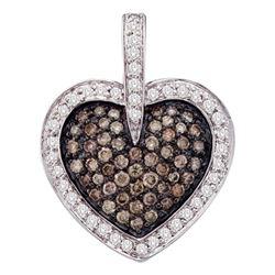 1 CTW Cognac-brown Color Diamond Heart Cluster Pendant 14k White Gold - REF-87M2H