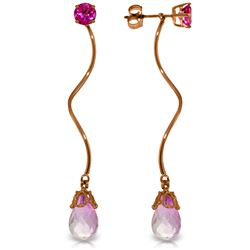 Genuine 6.8 ctw Pink Topaz Earrings Jewelry 14KT Rose Gold - REF-39X3M