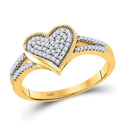 0.20 CTW Diamond Milgrain Heart Cluster Ring 10KT Yellow Gold - REF-24W2K