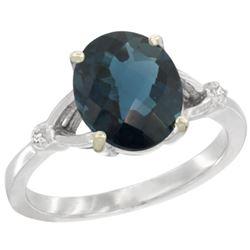 Natural 2.41 ctw London-blue-topaz & Diamond Engagement Ring 10K White Gold - REF-25F5N