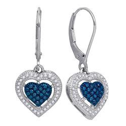 0.40 CTW Blue Color Diamond Heart Dangle Earrings 10KT White Gold - REF-36N2F
