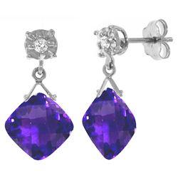 Genuine 17.56 ctw Amethyst & Diamond Earrings Jewelry 14KT White Gold - REF-48F3Z