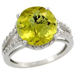Natural 5.34 ctw Lemon-quartz & Diamond Engagement Ring 10K White Gold - REF-33A7V