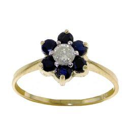 Genuine 0.50 ctw Sapphire & Diamond Ring Jewelry 14KT Yellow Gold - REF-42H2X