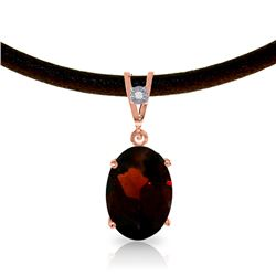 Genuine 7.56 ctw Garnet & Diamond Necklace Jewelry 14KT Rose Gold - REF-53K8V