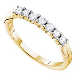 0.33 CTW Pave-set Diamond Single Row Wedding Ring 14KT Yellow Gold - REF-33F8N