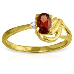 Genuine 0.46 ctw Garnet & Diamond Ring Jewelry 14KT Yellow Gold - REF-30W6Y