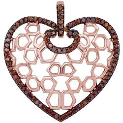 0.25 CTW Red Color Diamond Heart Love Pendant 10KT Rose Gold - REF-26Y9X