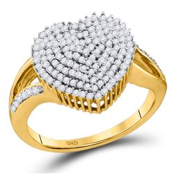 0.50 CTW Diamond Heart Love Cluster Ring 10KT Yellow Gold - REF-41H3M