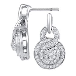 0.50 CTW Diamond Circle Cluster Earrings 10KT White Gold - REF-40W4K