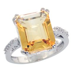 Natural 5.48 ctw Citrine & Diamond Engagement Ring 14K White Gold - REF-51F4N