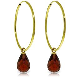Genuine 4.5 ctw Garnet Earrings Jewelry 14KT Yellow Gold - REF-26H2X