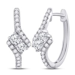 0.50 CTW Diamond 2-stone Hearts Together Bypass Hoop Earrings 14KT White Gold - REF-52Y4X
