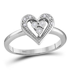 0.02 CTW Diamond Heart Cluster Ring 10KT White Gold - REF-12W2K