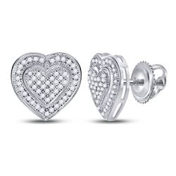 0.25 CTW Diamond Heart Screwback Earrings 10KT White Gold - REF-26K9W
