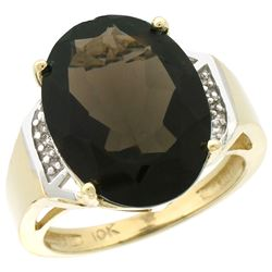Natural 11.02 ctw Smoky-topaz & Diamond Engagement Ring 10K Yellow Gold - REF-50H9W