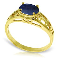 Genuine 1.15 ctw Sapphire Ring Jewelry 14KT Yellow Gold - REF-35X9M