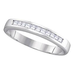 0.25 CTW Princess Channel-set Diamond Single Row Ring 14KT White Gold - REF-30K2W