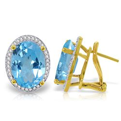 Genuine 15.16 ctw Blue Topaz & Diamond Earrings Jewelry 14KT Yellow Gold - REF-132V6W