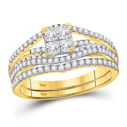 1 CTW Princess Diamond Bridal Engagement Ring 10KT Yellow Gold - REF-75Y2X