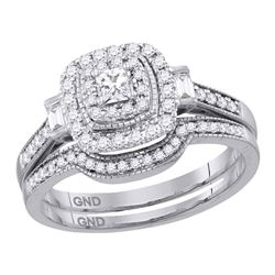 0.51 CTW Princess Diamond Bridal Engagement Ring 14KT White Gold - REF-79M4H