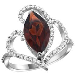 Natural 3.33 ctw Garnet & Diamond Engagement Ring 14K White Gold - REF-77Z5Y
