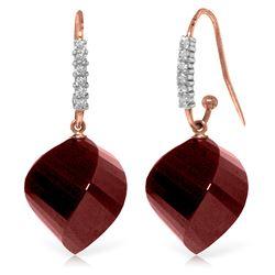 Genuine 30.68 ctw Ruby & Diamond Earrings Jewelry 14KT Rose Gold - REF-67R3P