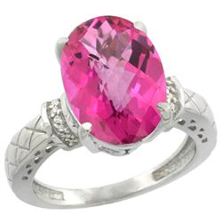 Natural 5.53 ctw Pink-topaz & Diamond Engagement Ring 14K White Gold - REF-60N3G