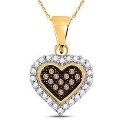 0.13 CTW Cognac-brown Color Diamond Heart Cluster Pendant 10KT Yellow Gold - REF-8M9H