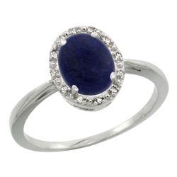 Natural 1.05 ctw Lapis & Diamond Engagement Ring 14K White Gold - REF-25X6A