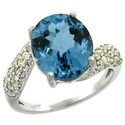 Natural 6.45 ctw london-blue-topaz & Diamond Engagement Ring 14K White Gold - REF-56W7K