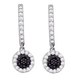 0.50 CTW Black Color Diamond Hoop Flower Dangle Earrings 10KT White Gold - REF-34X4Y