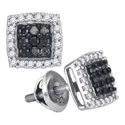 0.50 CTW Black Color Diamond Square Cluster Earrings 10KT White Gold - REF-26N9F
