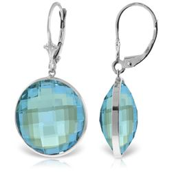 Genuine 46 ctw Blue Topaz Earrings Jewelry 14KT White Gold - REF-92T2A