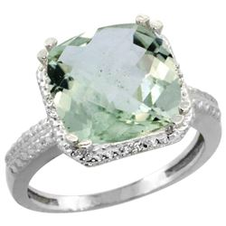 Natural 5.96 ctw Green-amethyst & Diamond Engagement Ring 14K White Gold - REF-42W3K