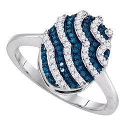 0.33 CTW Blue Color Diamond Oval Cluster Ring 10KT White Gold - REF-24Y2X