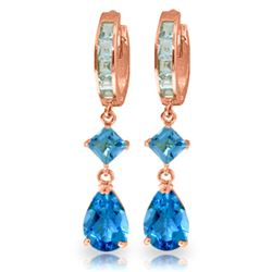 Genuine 5.62 ctw Blue Topaz Earrings Jewelry 14KT Rose Gold - REF-62T2A