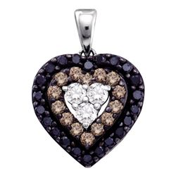 0.50 CTW Black Color Diamond Heart Love Pendant 14KT White Gold - REF-32H9M