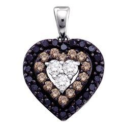 0.50 CTW Black Color Diamond Heart Love Pendant 14KT White Gold - REF-32H9M