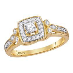 0.33 CTW Diamond Halo Bridal Engagement Ring 10KT Yellow Gold - REF-37N5F
