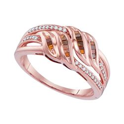0.25 CTW Princess Red Color Diamond Strand Ring 10KT Rose Gold - REF-26F3N