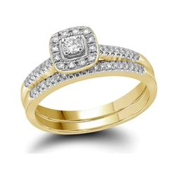 0.32 CTW Princess Diamond Square Halo Bridal Engagement Ring 10KT Yellow Gold - REF-44X9Y