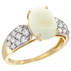 Natural 1.76 ctw opal & Diamond Engagement Ring 14K Yellow Gold - REF-58G2M