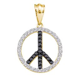 0.78 CTW Black Color Diamond Peace Sign Circle Pendant 14KT Yellow Gold - REF-49H5M