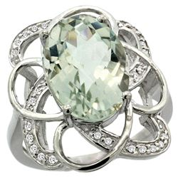 Natural 5.59 ctw green-amethyst & Diamond Engagement Ring 14K White Gold - REF-59Z6Y