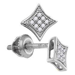 0.05 CTW Diamond Square Kite Cluster Screwback Earrings 10KT White Gold - REF-7N4F