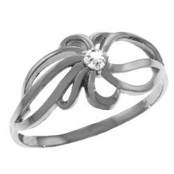 Genuine 0.05 ctw Diamond Anniversary Ring Jewelry 14KT White Gold - REF-35M4T