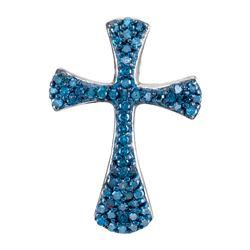 0.33 CTW Blue Color Diamond Cross Pendant 10KT White Gold - REF-16H4M