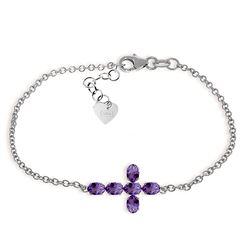 Genuine 1.70 ctw Amethyst Bracelet Jewelry 14KT White Gold - REF-59R8P