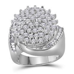 2.03 CTW Diamond Cluster Ring 10KT White Gold - REF-108F8N